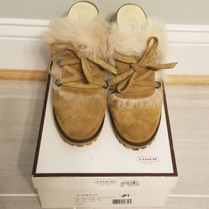 "Coach ""Kristy"" Suede Mule with fur"